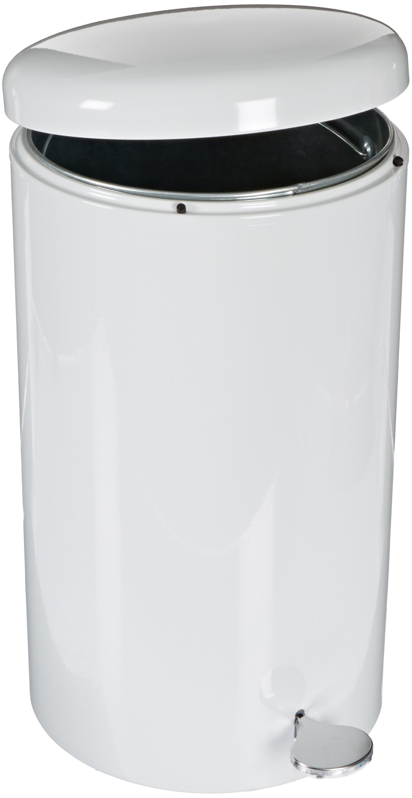 Witt 2270WH Stainless Steel Step On Can Biohazard Waste Container with Galvanized Liner, 7gal Capacity, 11'' Diameter x 21'' Height, White