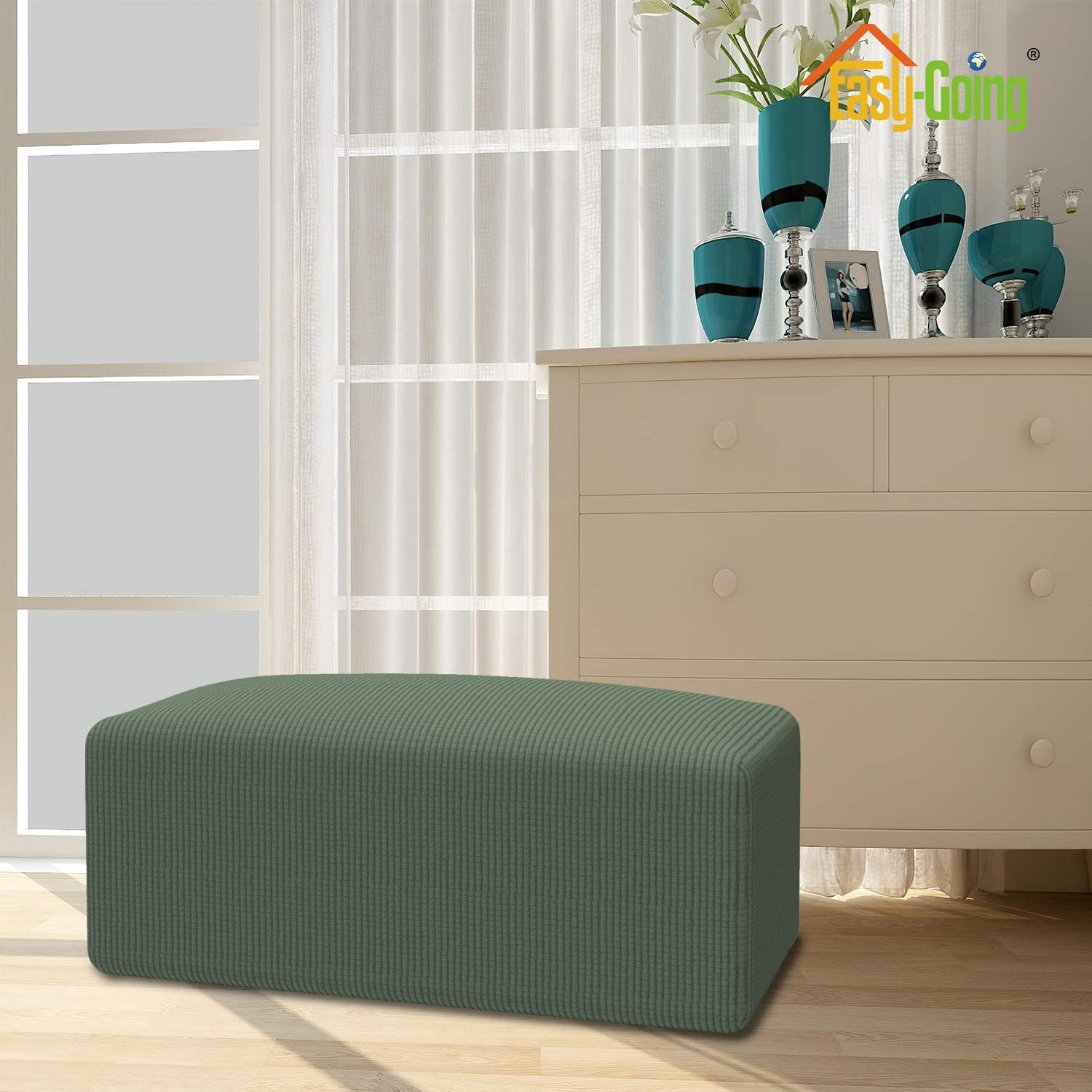 Ottoman S,Wine Easy-Going Stretch Ottoman Cover Folding Storage Stool Furniture Protector Soft Rectangle slipcover with Elastic Bottom