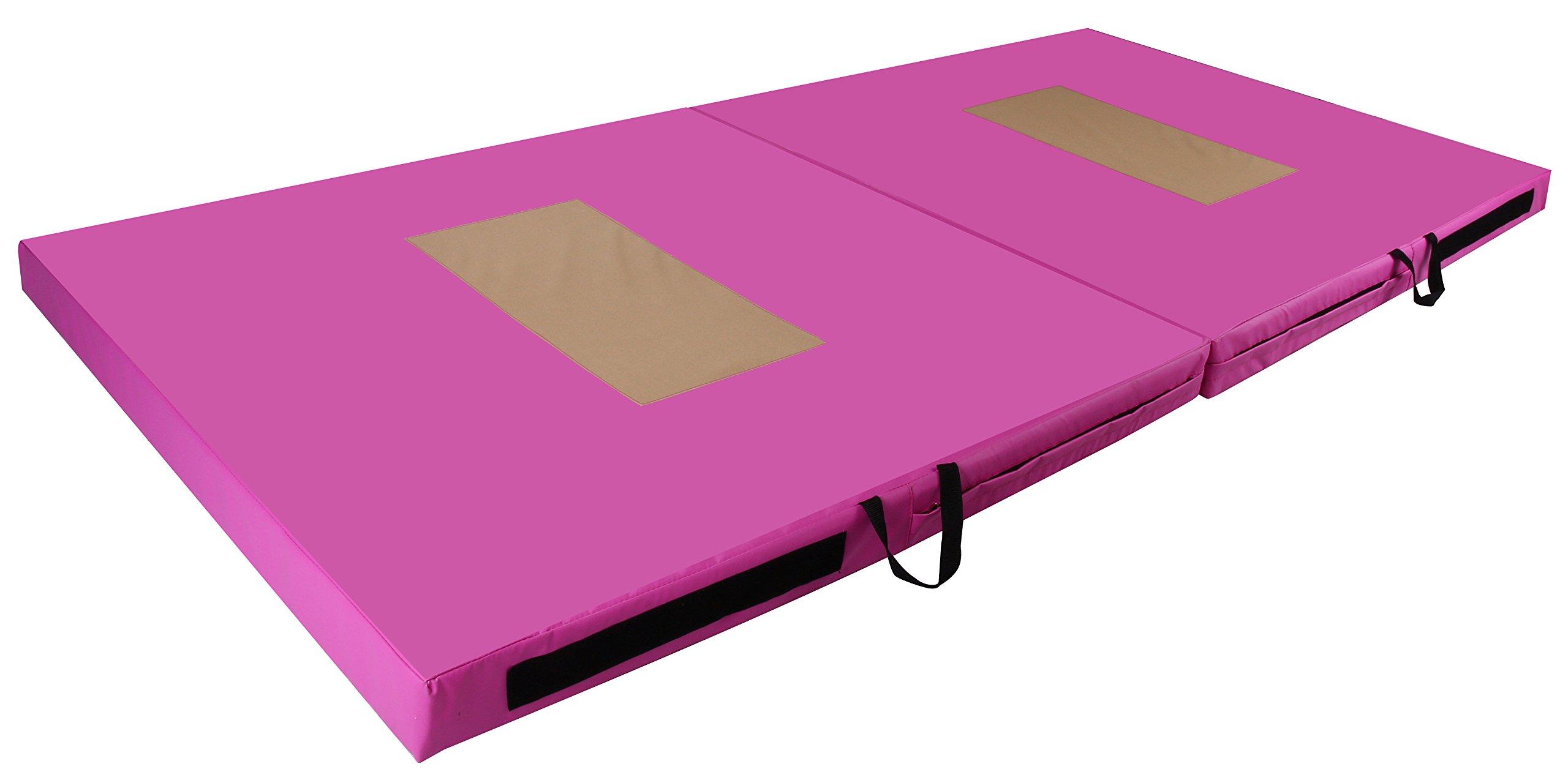 BalanceFrom GoGym All-Purpose 4'x8'x4 Extra Thick High Density Anti-Tear Gymnastics Gym Folding Exercise Aerobics Mats (Pink)