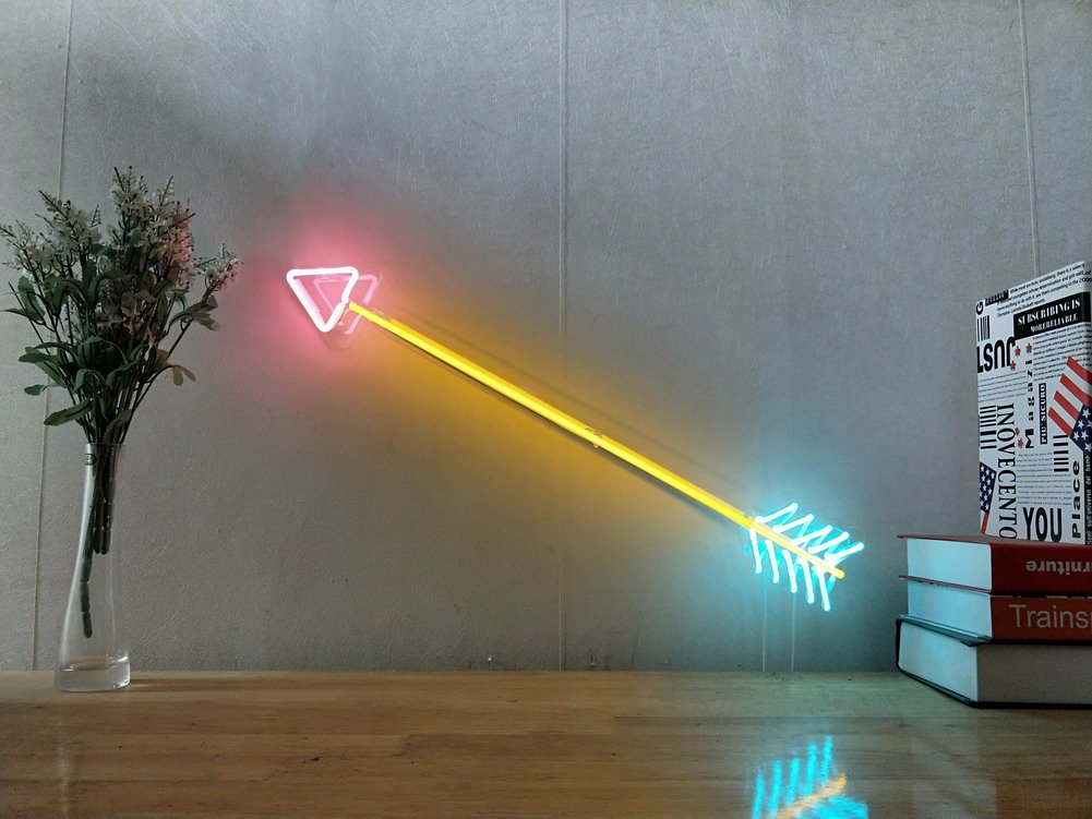 Arrow Real Glass Neon Sign For Bedroom Garage Bar Man Cave Room Home Decor Handmade Artwork Visual Art Dimmable Wall Lighting Includes Dimmer Artist Emily Ryder