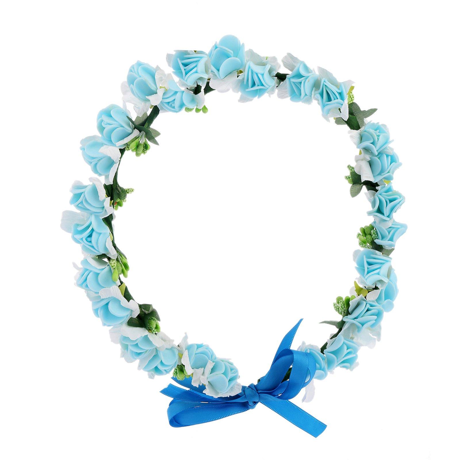 Amazon awaytr flower wreath headband floral crown garland halo awaytr flower wreath headband floral crown garland halo for wedding festivals light blue izmirmasajfo