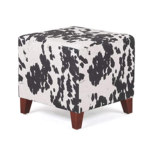 Adeco Simple British Style Cube Ottoman Footstool, 16x16x16, Black Cow Print