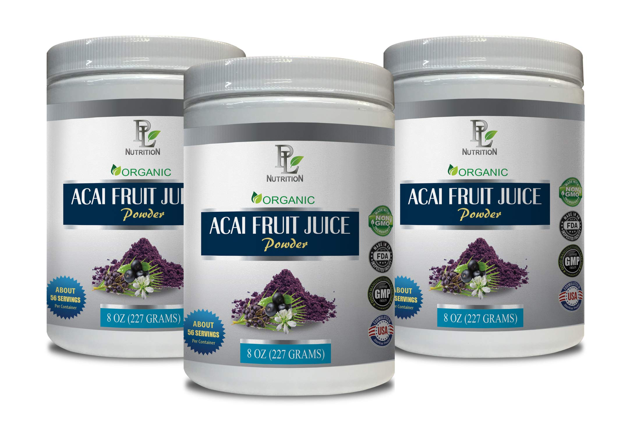 Cholesterol reducing Supplements - ACAI Fruit Juice - Powder Organic - acai Hair Products - 3 Cans 24 OZ (195 Servings)