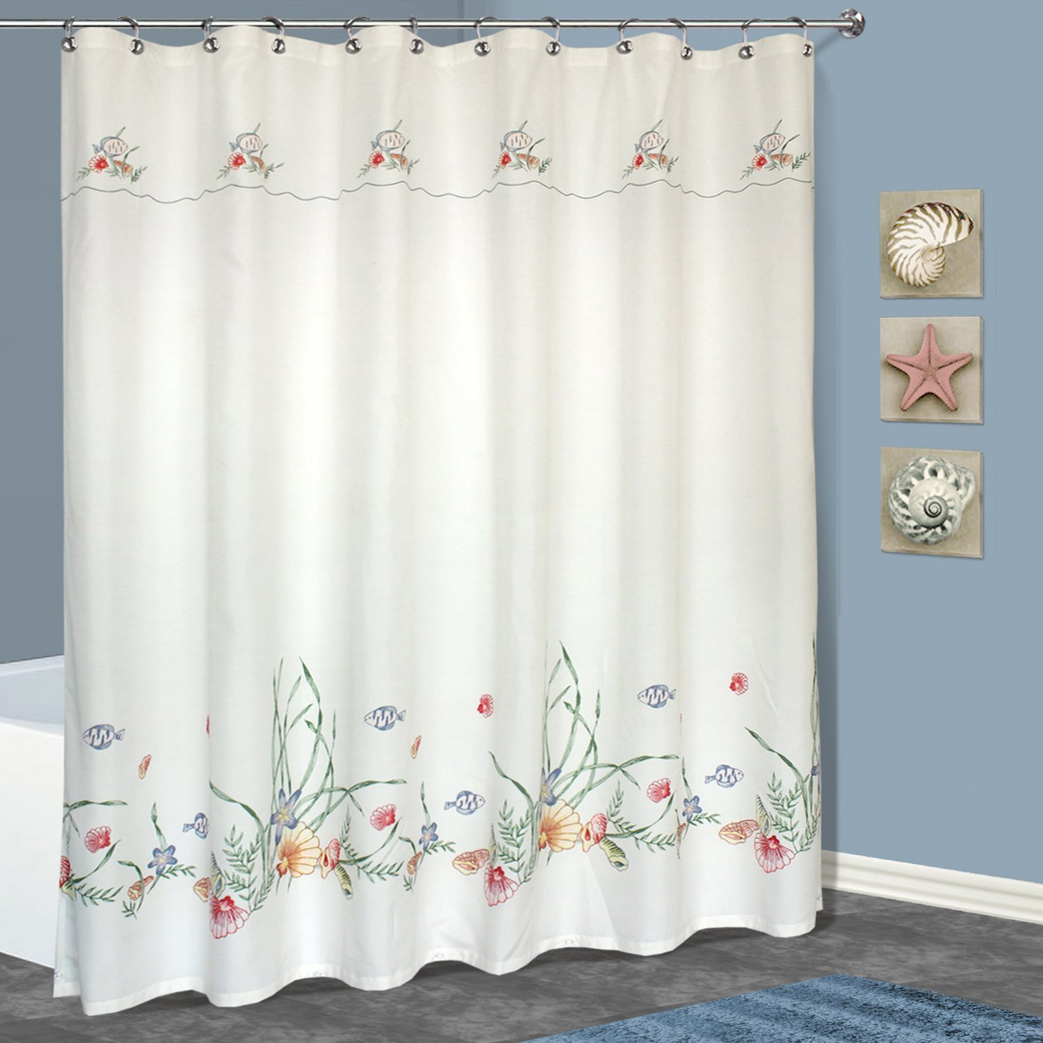 Amazon United Curtain Seashell Shower 70 By 72 Inch Multi Home Kitchen