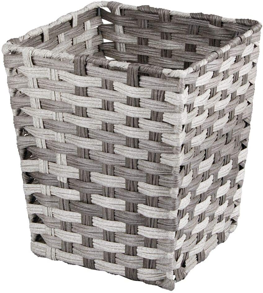 mDesign Small Woven Basket Trash Can Wastebasket - Square Garbage Container Bin for Bathrooms, Kitchens, Home Offices, Craft, Laundry, Utility Rooms, Garages - Gray