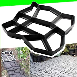 "CJGQ 17""x17""x1.6"" Walk Maker Reusable Concrete Path Maker Molds Pathmate Stone Moldings Stepping Stone Paver Yard Patio Lawn Garden DIY Walkway Pavement Paving Moulds (Irregular)"