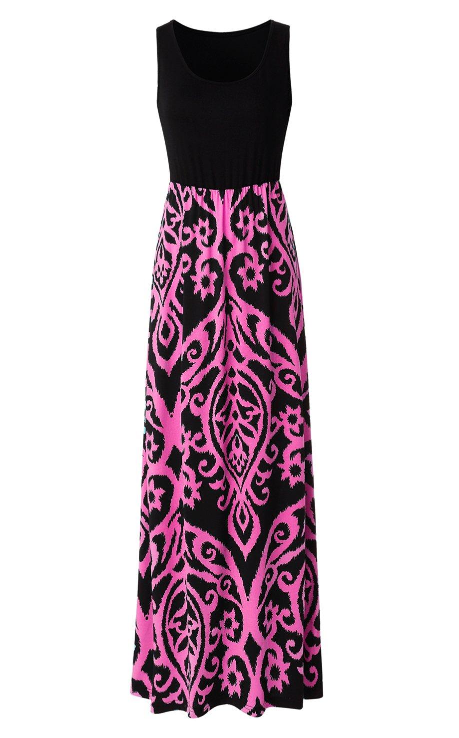 69a2bb4f1bb Galleon - Zattcas Womens Summer Contrast Sleeveless Tank Top Floral Print  Maxi Dress