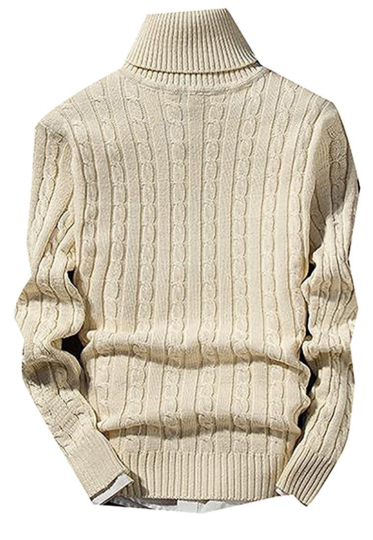 LOKOUO Fashion Mens Casual High Neck Soft Stretch Knit Solid Pullover Sweaters BeigeUS Small