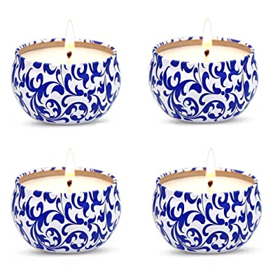 YCYH 2.2 Oz Pure Soy Wax Travel Tin Scented Candle Set, Lead-Free Wick, Aromatherapy Candles Tropical Fruit-Set Gift of 4
