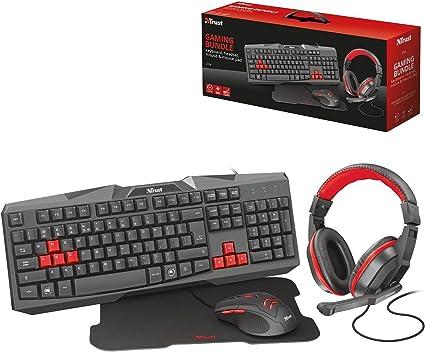 Trust 22312 - Teclado (Estándar, Alámbrico, USB, Negro, Rojo ...