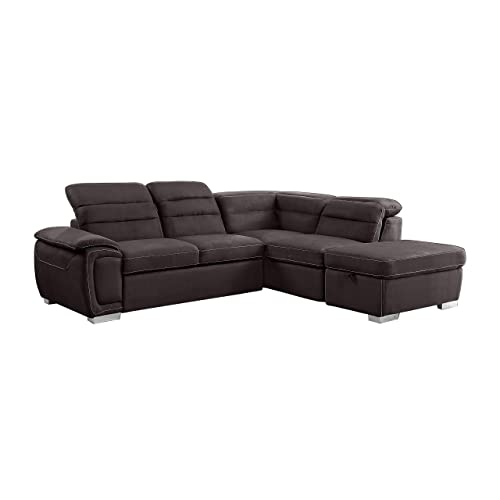 Homelegance Platina 103 Sectional Sofa with Pull Out Bed and Ottoman, Chocolate Fabric