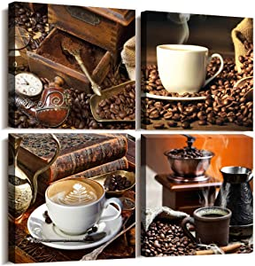 Kitchen Wall Art Decor Restaurant Canvas Art 4 piece set Coffee Bean Coffee Cup Canvas Prints wall decor for dining room coffee shop Artwork Pictures Watercolor painting Modern Home Decoration