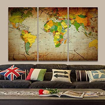 Amazon.com: Asenart 3 Panel Canvas Painting Poster Old World ...