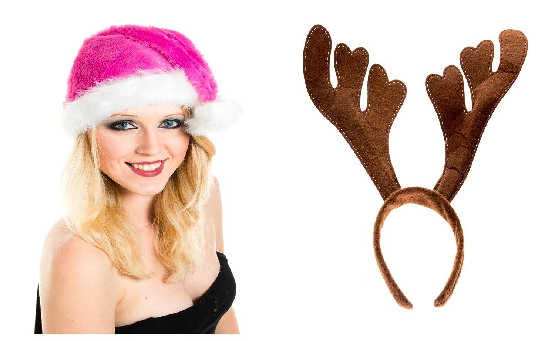 2 er Setmit Geweih Weihnachtsmütze Dick Plüsch Pink Super Flauschig Nikolausmütze