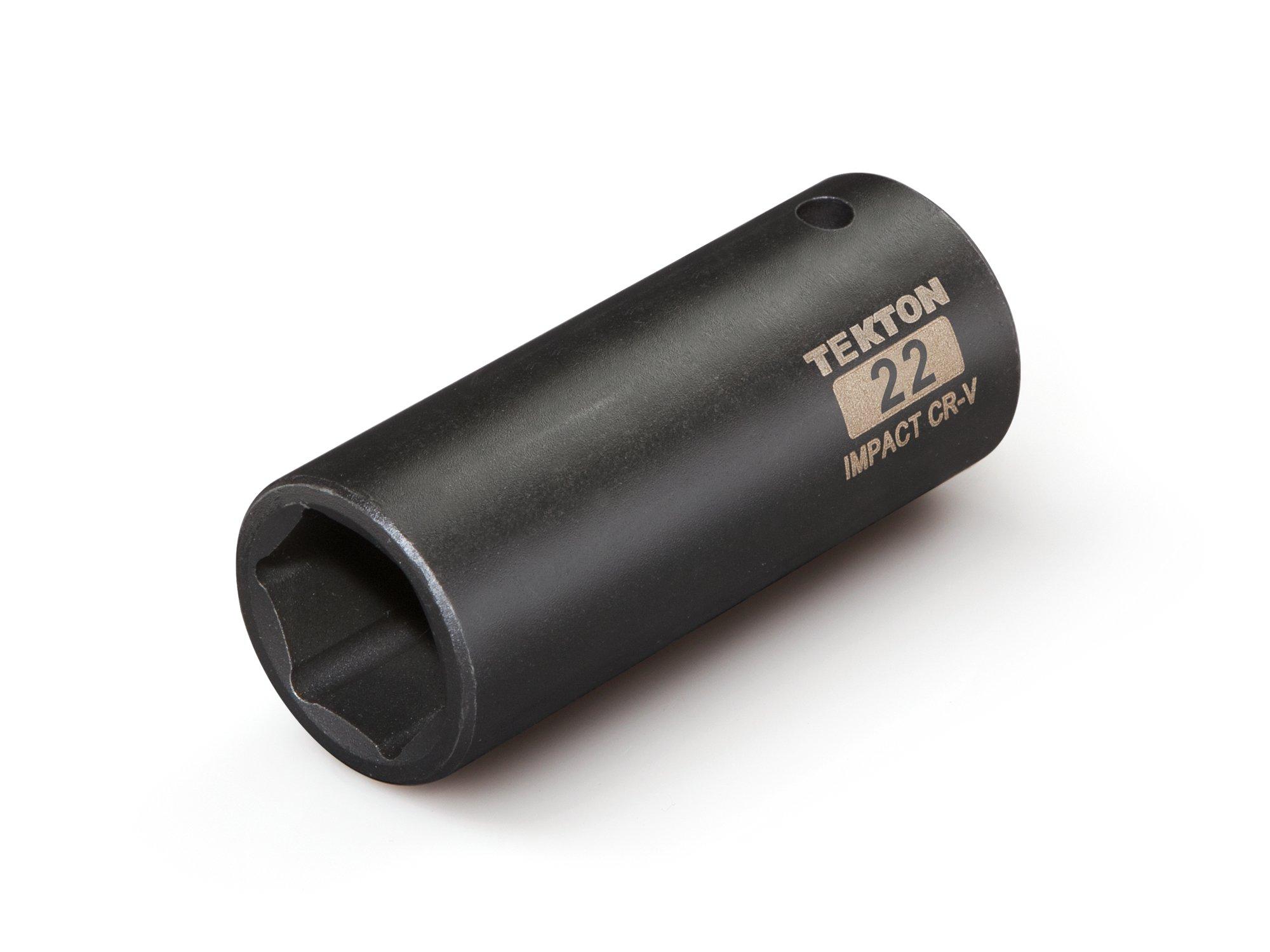 TEKTON 47813 1/2-Inch Drive by 22 mm Deep Impact Socket, Cr-V, 6-Point