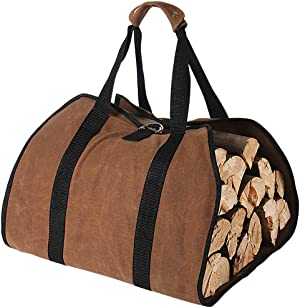 Tenn Well Waxed Canvas Log Carrier for Firewood, 38in x 18in 16oz Heavy Wood Carrying Bag with Handles Securing Straps for Camping Indoor (Brown)