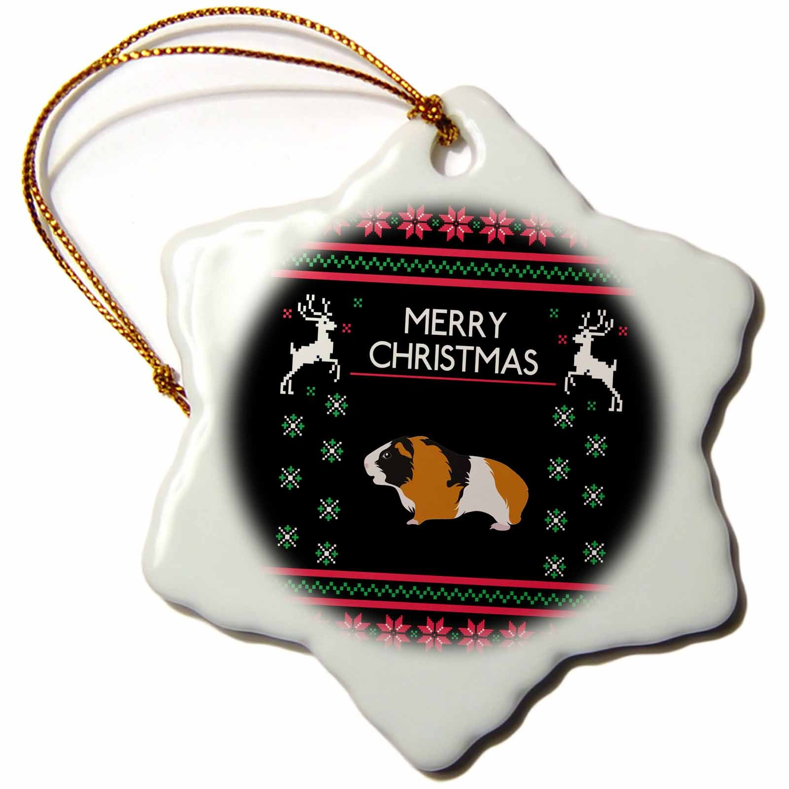3dRose Guinea Pig Animal with Christmas Xmas Celebration Snowflake Ornament, 3''