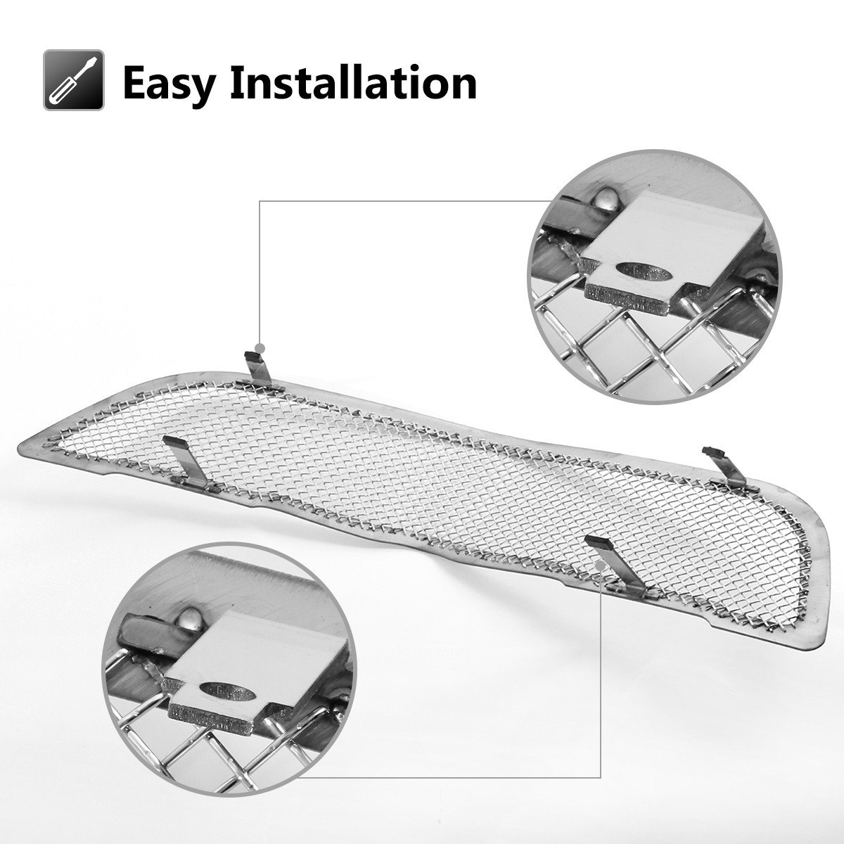 AUTEX Stainless Steel Mesh Grille Compatible With Chrysler Crossfire 2004 2005 2006 2007 2008 Grill Main Upper Replacement R76525T