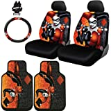 New Design 8 Pieces DC Comic Harley Quinn Car Seat Covers Floor Mats and Steering Wheel Cover Set with Air Freshener