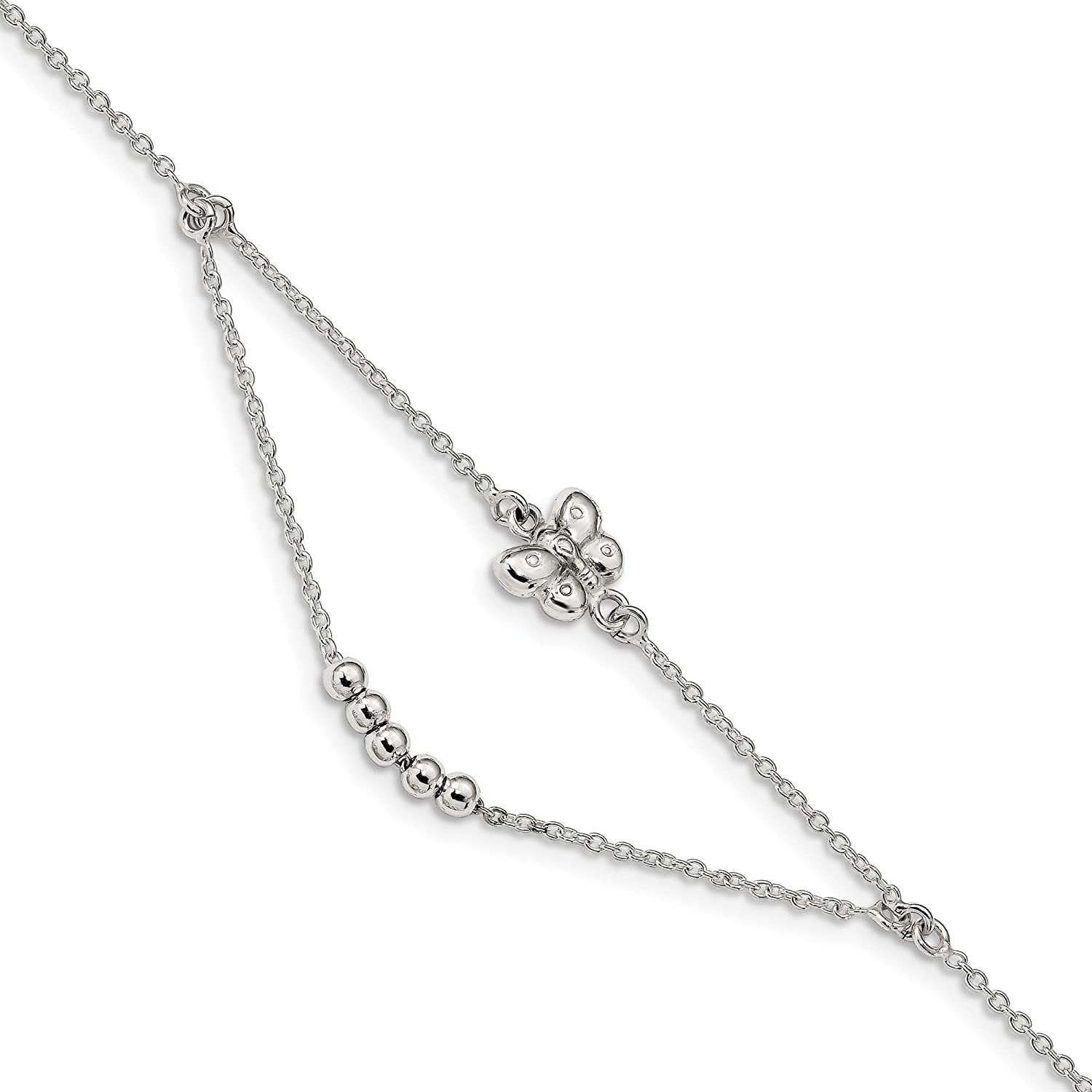 Bonyak Jewelry Sterling Silver Polished 9in w//1in ext Butterfly Anklet