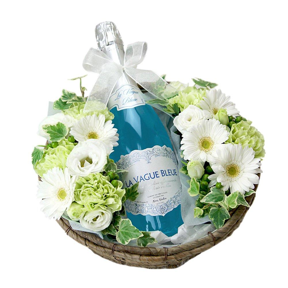 翌日配達お花屋さん ワインと花 ギフトセット 青色スパークリング ラヴァーグブルー B00LL16PWE