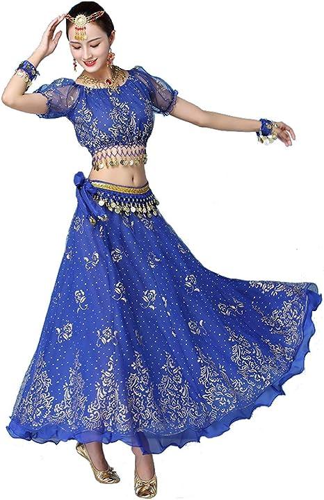Grouptap Bollywood Azul Indio para Mujer señoras fantasía Anarkali ...