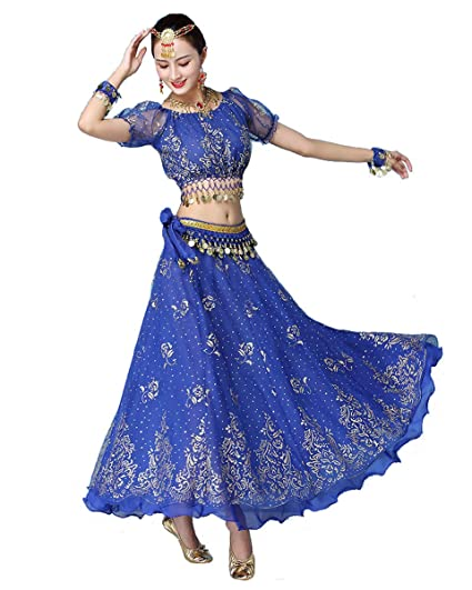 Grouptap Bollywood Azul Indio para Mujer señoras fantasía ...