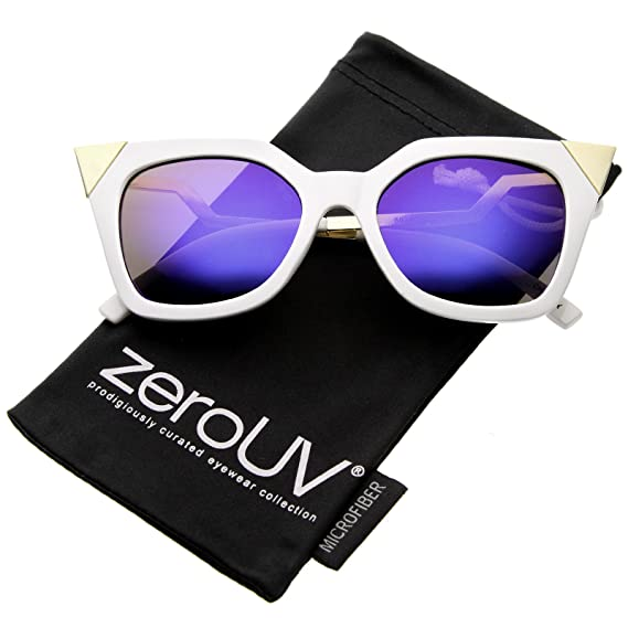 e720cc3ad27f98 zeroUV - Women's Bold Metal Accent Zigzag Temple Colored Mirror Lens Cat Eye  Sunglasses 52mm (White-Gold / Ice): Amazon.ca: Clothing & Accessories