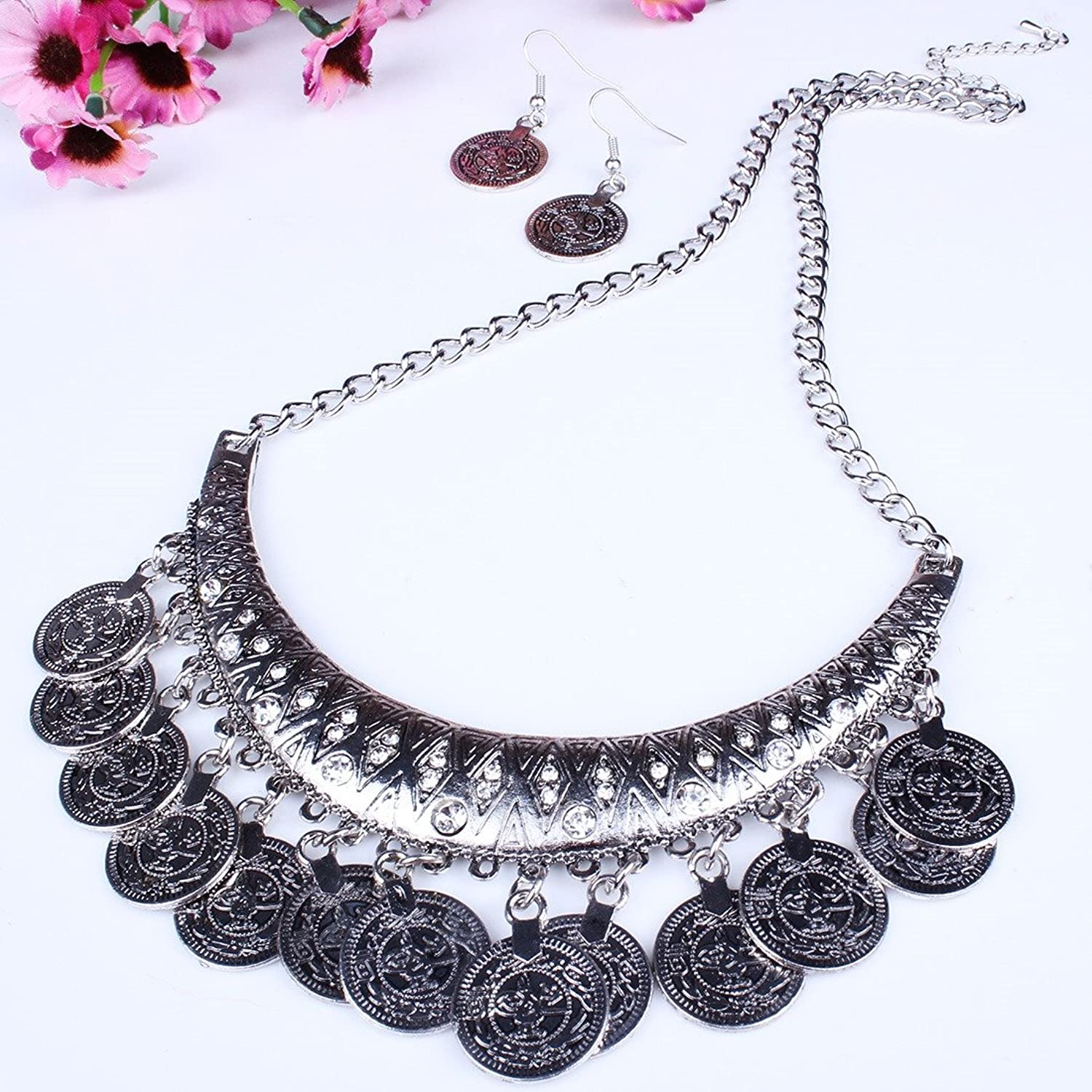 Amazon.com: QIYUN.Z (TM) Tribal Jewelry Flat Round Dangle Coin Tassel Pendant Chain Necklace For Women: Jewelry