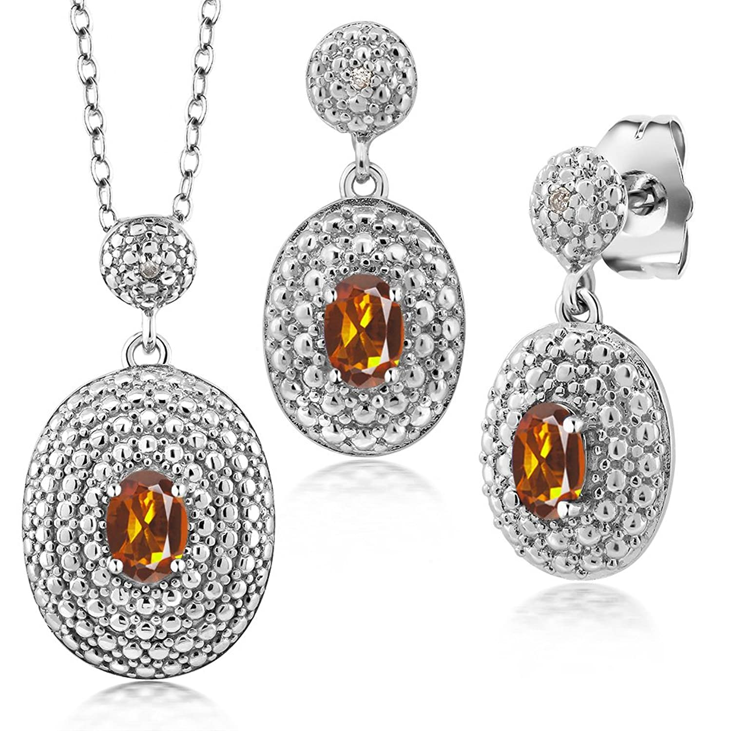 1.22 Ct Orange Red Madeira Citrine & Diamond Rhodium Plated Pendant Earrings Set