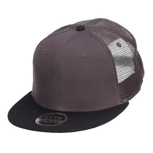 Amazon.com  Mesh Premium Snapback Flat Bill Cap - Black Charcoal ... 62695f77c24