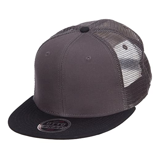 45338125 Mesh Premium Snapback Flat Bill Cap - Black Charcoal OSFM at Amazon ...