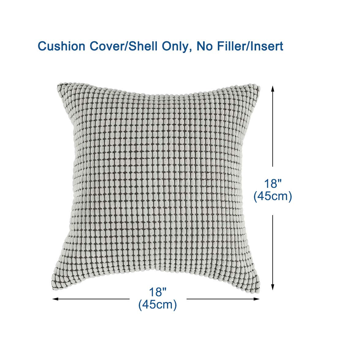 PiccoCasa Pack of 4 Decorative Christmas Throw Pillow Covers Set Soft Velvet Corduroy Pillowcase Cushion Covers for Sofa Couch Bed Light Gray 20 x 20