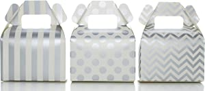 Food with Fashion Candy Box Kit, Silver Wedding Party Favors (36 Pack) - Stripe, Chevron & Polka Dot Gable Boxes for Birthday Party Supplies & Candy Buffet Decorations