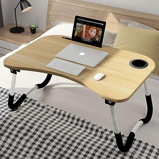 GWFVA Mesa Plegable Computadora Escritorio Cama Mesa pequeña ...