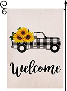 LoveGarden Welcome Sunflower Truck Garden Flag Vertical Double Sided 12.5 x 18 Inch, Black and White Buffalo Check Plaid Rustic Truck Farmhouse Burlap for Spring Summer Outdoor Indoor Decoration