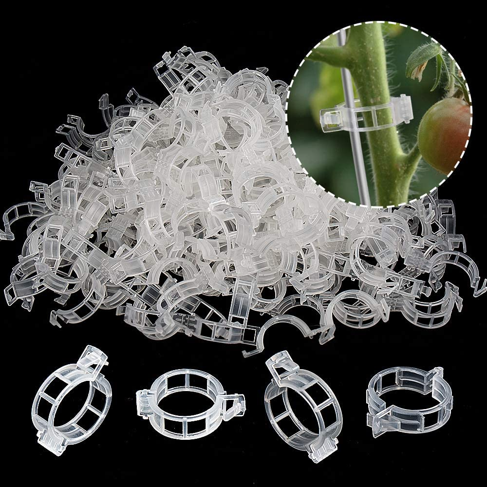 200PCS Plant Support Garden Clips, Vegetable Cages and Supports, Garden Trellis for Climbing Vine Plants, Supports Clip for Tomato Grape Melon, Makes Garden Crop to Grow Upright and Healthier