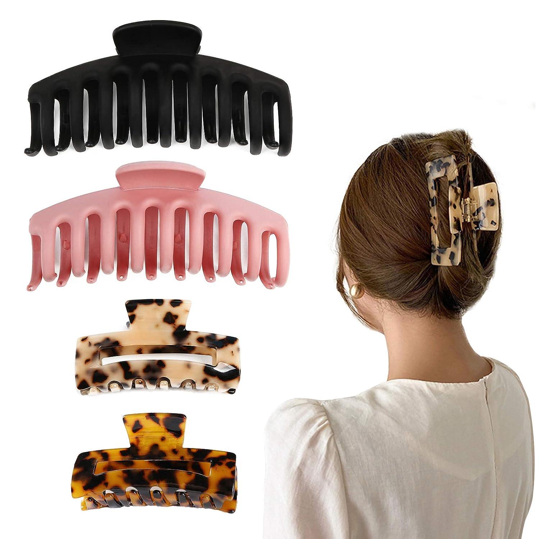 ... La Peach Fashions Ladies 10 cm Size Curved Polished Wide Barrette Hair Clip