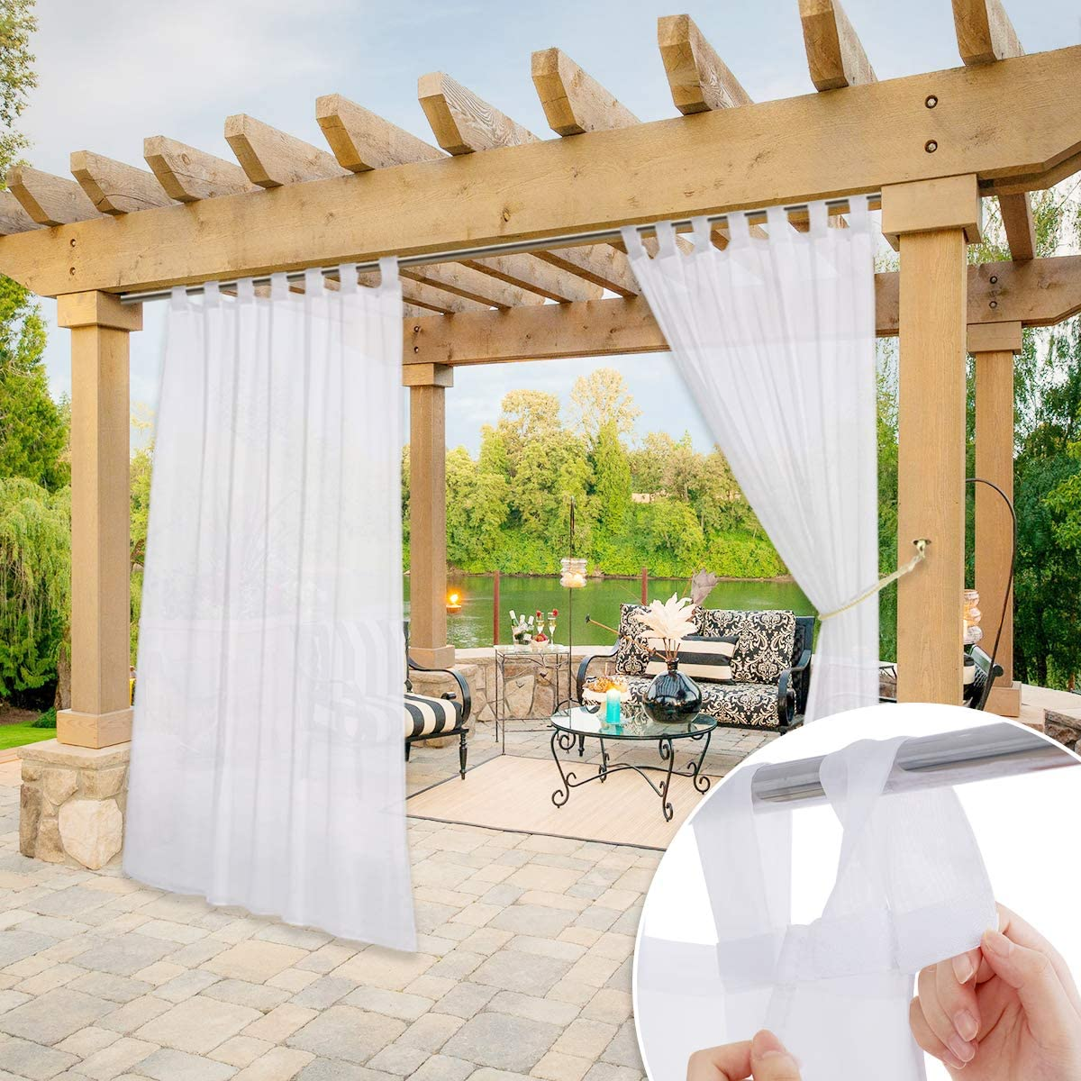 W54 x L96 NICETOWN Outdoor Patio Curtain Waterproof Detachable Sticky Tab Top Indoor Outdoor Sheer Voile Drape for Pergola with Rope Tieback White 1 Panel