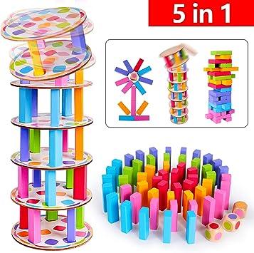 Tavola impilabile in Legno Divertenti Giocattoli educativi 48 Pezzi Coloratissimi Blocchi Torre in Legno Gioco per Bambini e Adulti