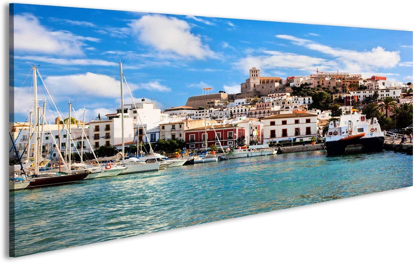 echter Fotoabzug Galerie Qualit/ät Acrylglasbild 120 x 40cm Panoramabild Spanien Ibiza Burg und Altstadt Acrylglas auf Alu Dibond/© Fineart Wandbild