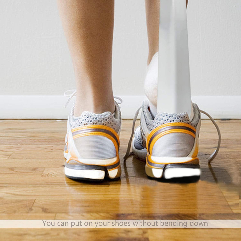 FEIGO Lot de 4 Chausse Pied Acier Inoxydable 16CM /& 30CM Chausse-pied Long Manche pour Mettre Chaussures