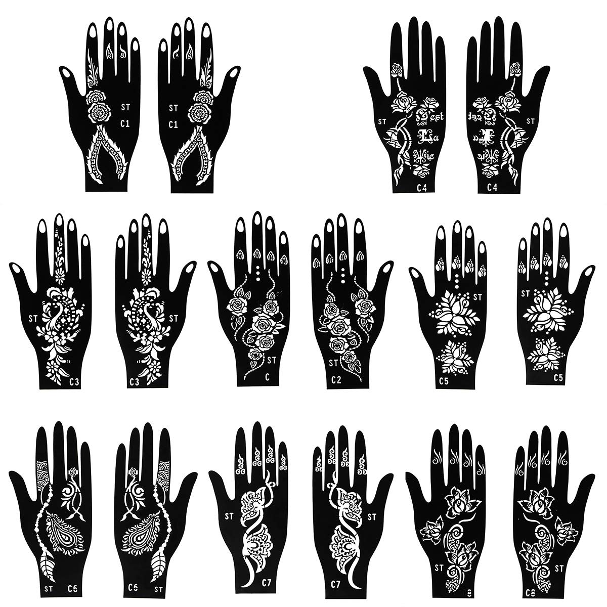 8 pieces Henna tattoo stencils set for finger body paint 8 different patterns art designs temporary tattoo templates