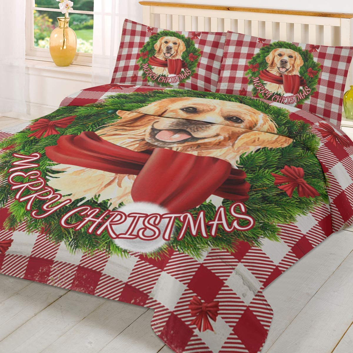 Merry Christmas 3 Piece Duvet Cover Set King Size Ultra Soft Breathable Washed Polyester Quilt Cover with Zipper Closure and Corner Ties Set Golden Retriever Dog Buffalo Check Plaid
