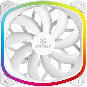 Enermax Squa RGB PWM 120mm Case Fan, Addressable RGB Sync Via Motherboard, Single Pack- White; UCSQARGB12P-W-SG