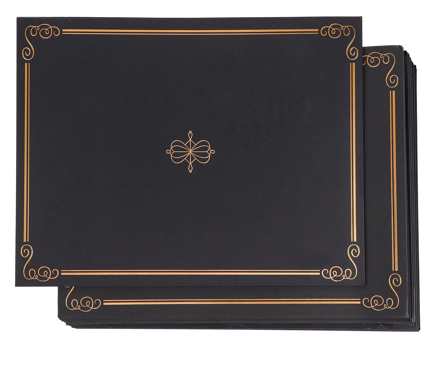 Certificate Holders - 24-Pack Diploma Cover, Document Cover for Letter-Sized Award Certificates, Black, Gold Foil, 11.2 x 8.7 inches