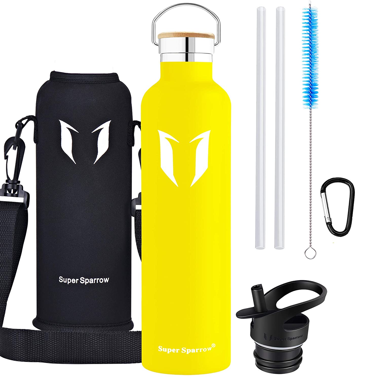 46f3bb5bb8 Super Sparrow Water Bottle -1000ml - Double Wall Vacuum Insulated Stainless  Steel Bottle - Standard Mouth - Leak Proof Sports Bottle - with 2  Exchangeable ...