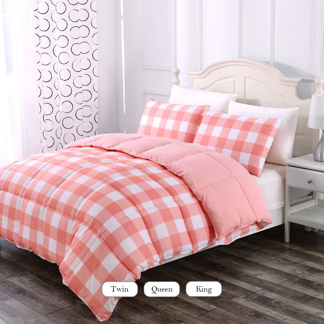Luxe Bedding 3-PCS Reversible Down Alternative Quilted Duvet / Gingham Comforter Set - All Season Hotel Quality (Twin, Coral)