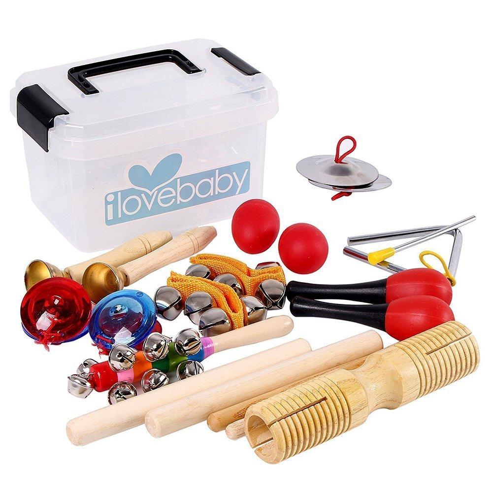 Kids Musical Instruments Toys,10 PCS-Rhythm Percussion Kit with Storage Box Tambourine Set
