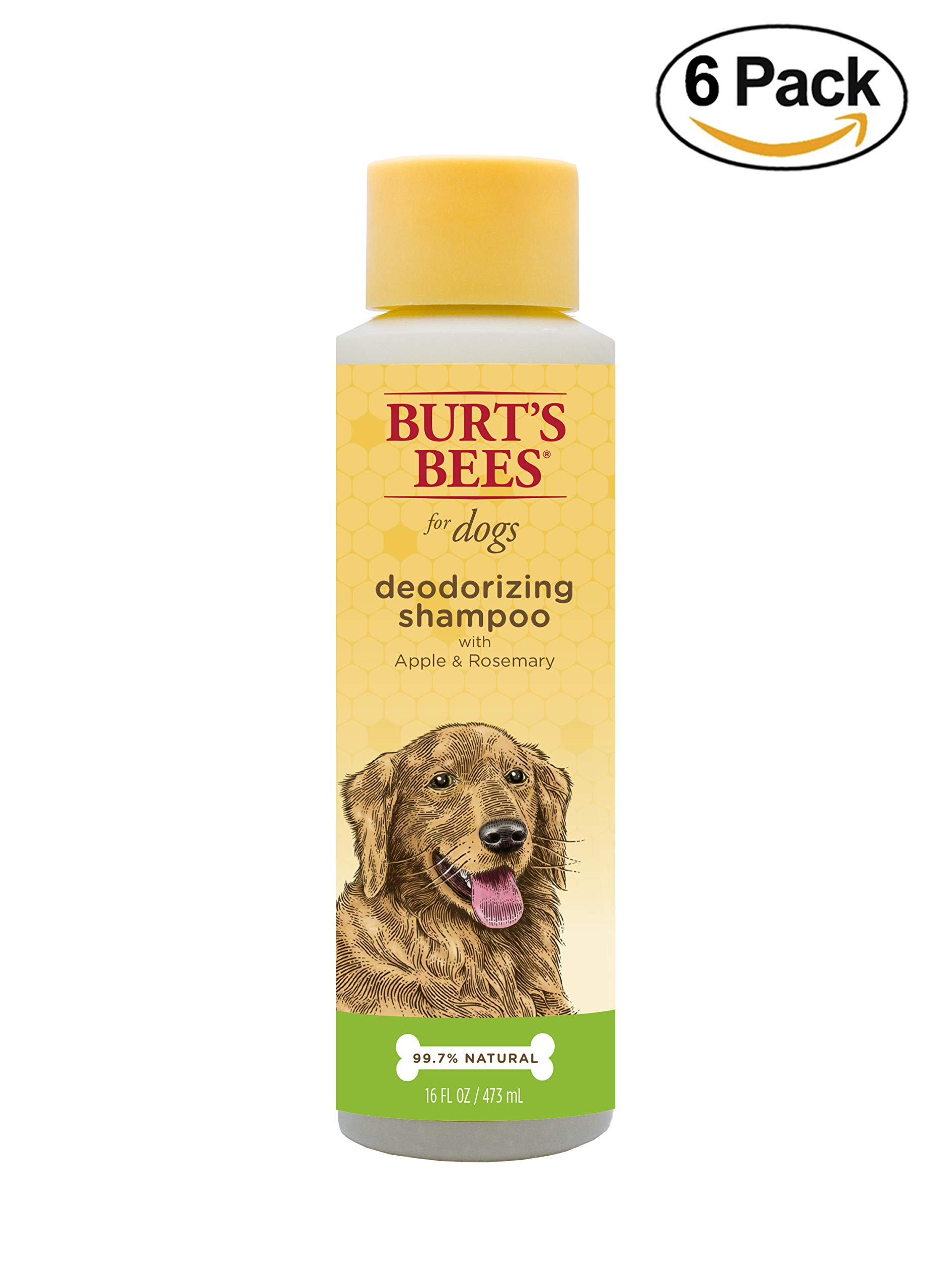 Burt's Bees All Natural Deodorizing Shampoo for Dogs | Best Dog Shampoo for Smelly Dogs | Made with Apple & Rosemary, 16 Ounces - 6 Pack